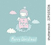 cute christmas card with angel... | Shutterstock .eps vector #229103236