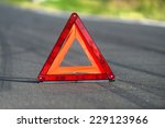 red triangle of a car on the...   Shutterstock . vector #229123966