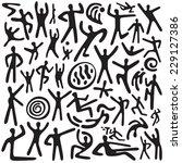 dancing people   doodles set | Shutterstock .eps vector #229127386