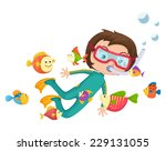 Illustration Of Boy Scuba...