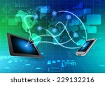 phone and tablet on side world... | Shutterstock . vector #229132216