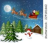 snowy christmas landscape.... | Shutterstock .eps vector #229181662