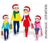 happy family going christmas... | Shutterstock .eps vector #229187656
