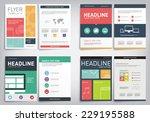 set of vector flyers template... | Shutterstock .eps vector #229195588