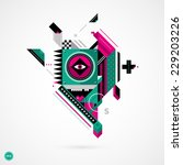 abstract geometric creature on... | Shutterstock .eps vector #229203226