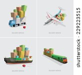 low poly transportation set... | Shutterstock .eps vector #229223515
