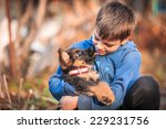 Stock photo boy with german shepherd dog puppy 229231756