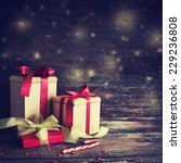 christmas presents with red... | Shutterstock . vector #229236808