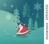 cute santa claus on a sled with ... | Shutterstock .eps vector #229251532