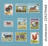 Retro Farm Animals Postage...