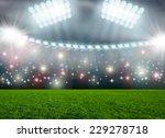 soccer ball on green stadium... | Shutterstock . vector #229278718
