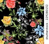 beautiful watercolor flowers... | Shutterstock .eps vector #229280152