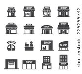 shop building icon set | Shutterstock .eps vector #229299742