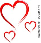 three sketched hearts | Shutterstock .eps vector #22935574