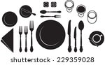 table place setting black and... | Shutterstock .eps vector #229359028