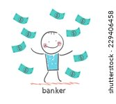 banker and a lot of money...   Shutterstock .eps vector #229406458