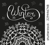 winter chalk lettering on black ... | Shutterstock .eps vector #229446748
