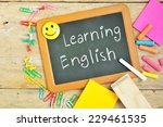 learning english on blackboard. | Shutterstock . vector #229461535
