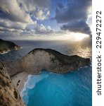 Small photo of Navagio beach in Zakynthos. WInter view afther thw wind storm. Ionian Islands, Greece.