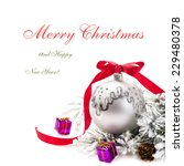 christmas card with ornaments ... | Shutterstock . vector #229480378