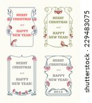 christmas labels in art nouveau ... | Shutterstock .eps vector #229483075