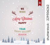 vintage christmas greeting card ... | Shutterstock .eps vector #229506262