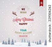 vintage christmas greeting card ... | Shutterstock .eps vector #229506262
