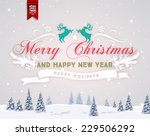 vintage christmas greeting card ... | Shutterstock .eps vector #229506292