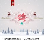 vintage christmas greeting card ... | Shutterstock .eps vector #229506295
