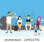 group of people using... | Shutterstock .eps vector #229522792
