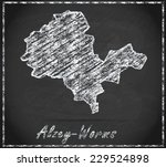 Map of Alzey as chalkboard  in Black and White