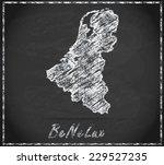 map of benelux as chalkboard ... | Shutterstock . vector #229527235