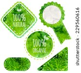 Green Eco Labels With Text 100...