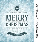 christmas retro typography and... | Shutterstock .eps vector #229596052