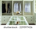 white hat and jewelry set on a... | Shutterstock . vector #229597426