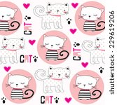 Cute Childish Pattern With Cat...