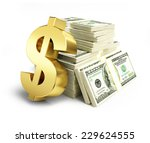 Dollar Sign Stacks Of Dollars...