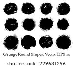 set of black round grunge... | Shutterstock .eps vector #229631296