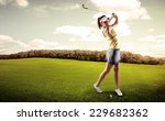 active woman player hitting the ... | Shutterstock . vector #229682362