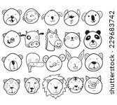 set of cute animal faces | Shutterstock .eps vector #229683742
