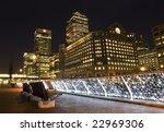 Canary Wharf area at night(London). - stock photo