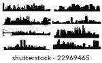 set of 8 diferens skylines of... | Shutterstock .eps vector #22969465