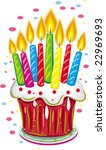 birthday cake with candles.... | Shutterstock .eps vector #22969693
