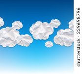 clouds crushed paper and blue... | Shutterstock .eps vector #229698796