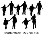 silhouette of a mother and son... | Shutterstock . vector #229701418