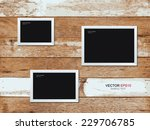 Photo frame on vintage wooden wall. Vector illustration.