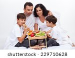 healthy breakfast in bed  ... | Shutterstock . vector #229710628