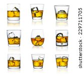 Whiskey Glasses With Ice Cubes...