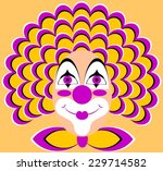 funny clown with a yellow wig ... | Shutterstock .eps vector #229714582