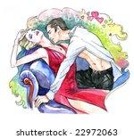 Love Couple  Watercolor